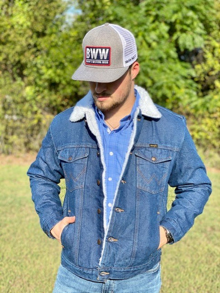 Denim & White Fleece Jacket - Blair's Western Wear Marble Falls, TX
