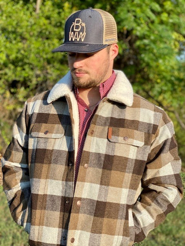 Brown / Off White Plaid Jacket - Blair's Western Wear Marble Falls, TX