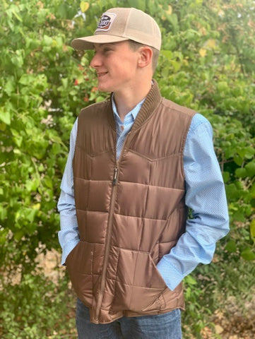 Men's Roper Quilted Cowboy Vest Chocolate 397763526