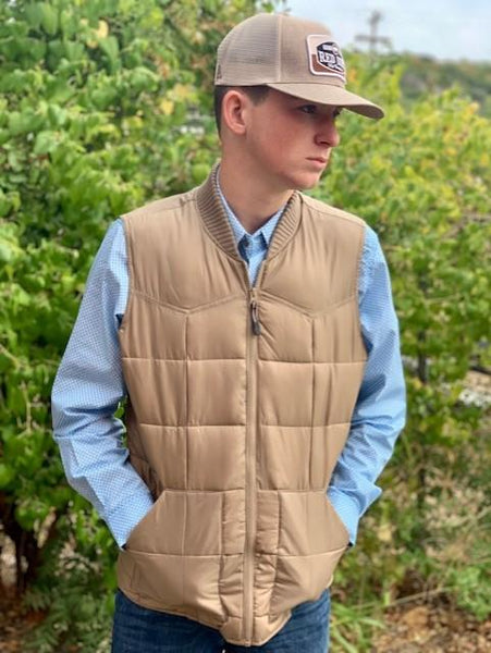 Men's Roper Quilted Cowboy Vest Tan 397763523