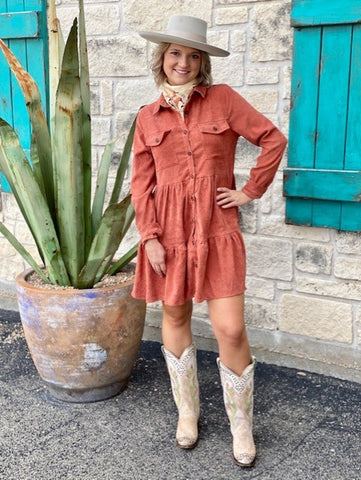 Brick Color Dress - Blair's Western Wear Marble Falls, TX
