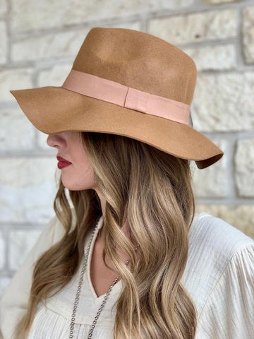 Ladies Floppy Boho Western Cowgirl Tan Felt Hat - F3047
