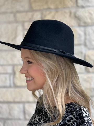 Ladies Cowgirl Western Black Felt Cowboy Hat - JA-470