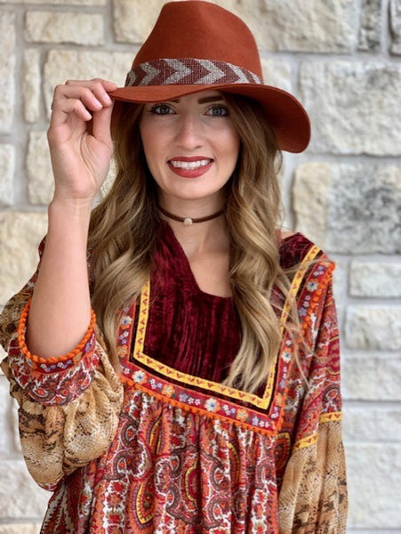 Great Fall Cowgirl Western Felt Hat with Beaded hatband - 30601CRUS