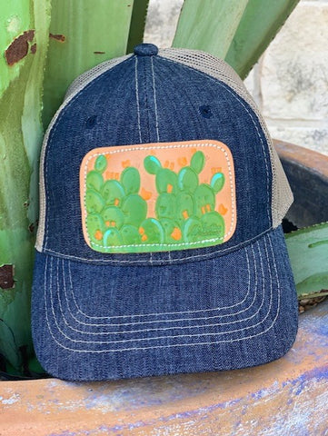 Ladies Leather Patch Cactus Cap Denim / Green - CAP01PRICK