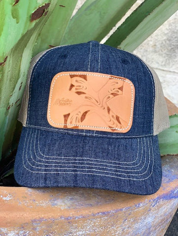 Ladies McIntire Saddlery leather cross patch denim cap