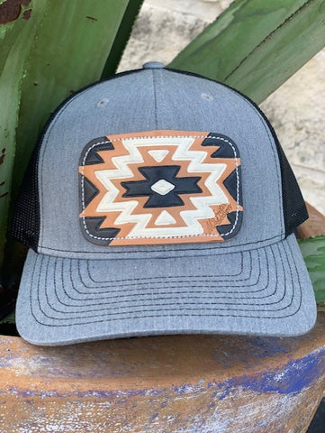 Ladies boho western aztec cap with leather patch