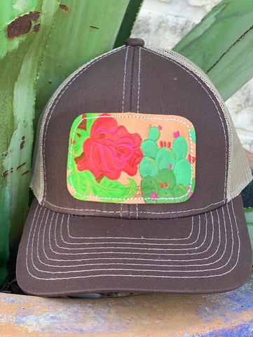 Ladies Western Boho leather rose cactus cap hand painted