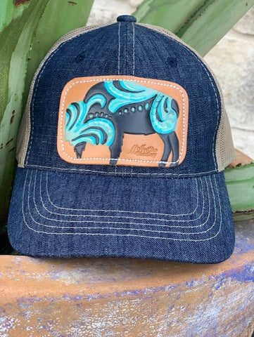 Ladies Denim Cap with leather hand tooled painted buffalo patch by McIntire Saddlery