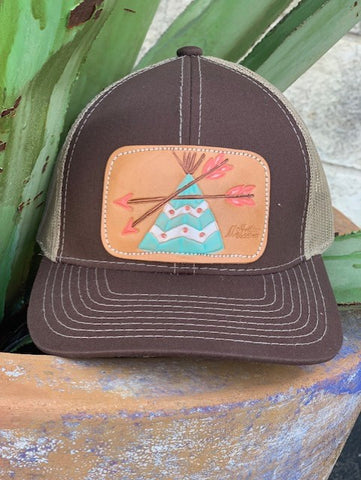 Ladies Leather TeePee Patch cowgirl cap