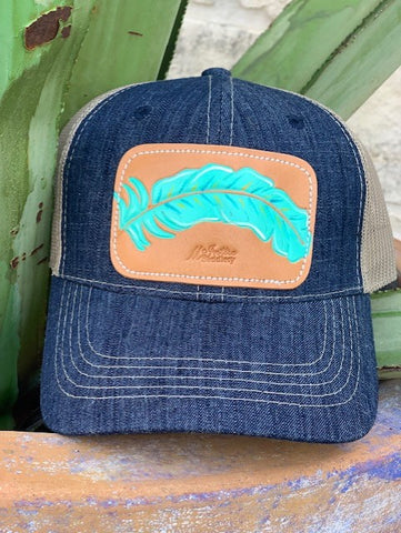 Ladies Boho western leather feather patch cap by McIntire Saddlery cap turquoise