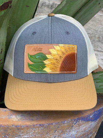Ladies Hand tooled & painted sunflower McIntire Saddlery cap - CAP10ROSE