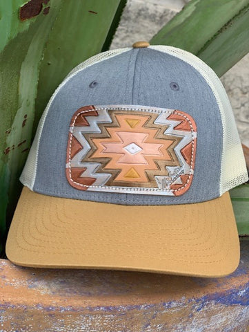 Ladies McIntire Saddlery leather hand tooled aztec patch cap copper