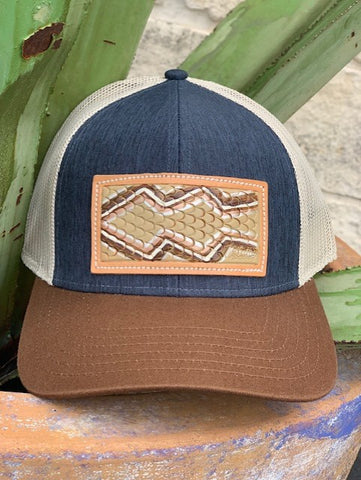 ladies McIntire Saddlery leather patch hand tooled and painted snake print cap