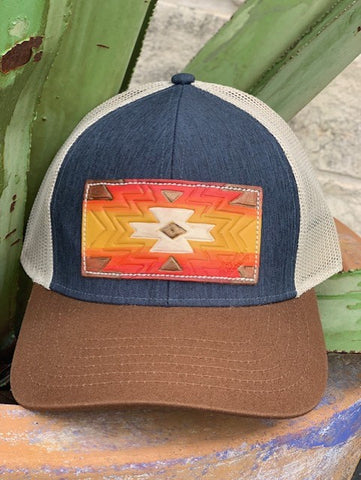 Ladies McIntire Saddlery leather patch cap hand painted aztec mesh cap