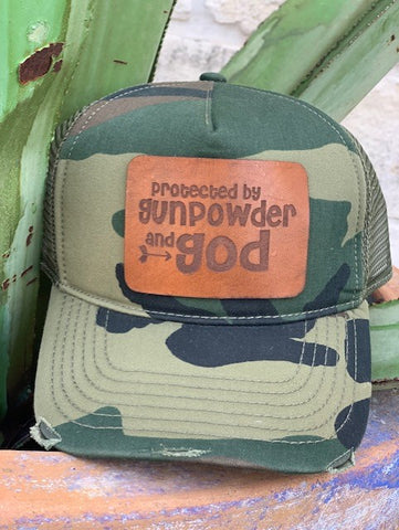 Ladies leather patch camo cap protected by gunpowder and God
