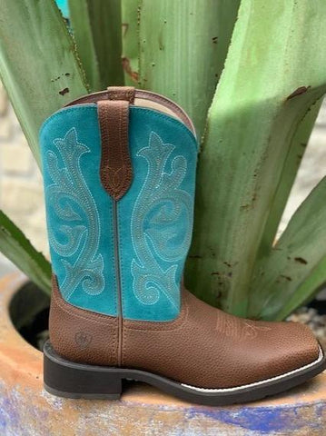 Ariat Ladies Cowgirl Square Toe Western Roper with Turquoise top - 10025031