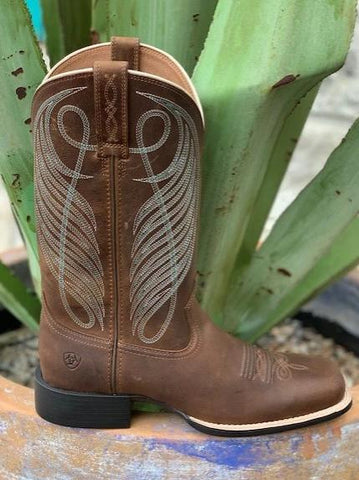 Ladies Cowgirl Western Square Toe Brown Boot - 10018528