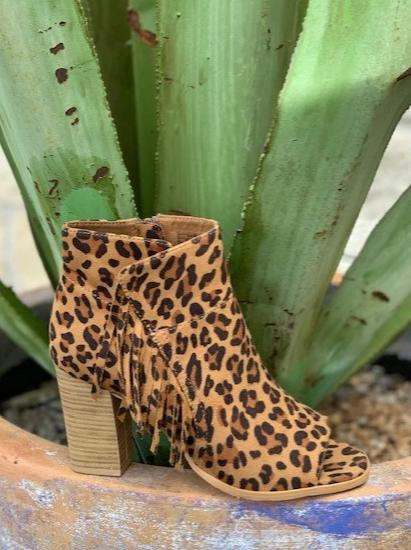 Ariat Ladies boho cowgirl leopard bootie with fringe - 10027431