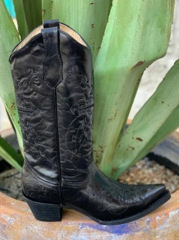 Classic Ladies Circle G Solid Black Cowgirl Western Boot - L5060
