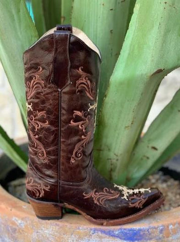 Ladies Corral Western Cowgirl Boot with Cross Embroidery - L5039