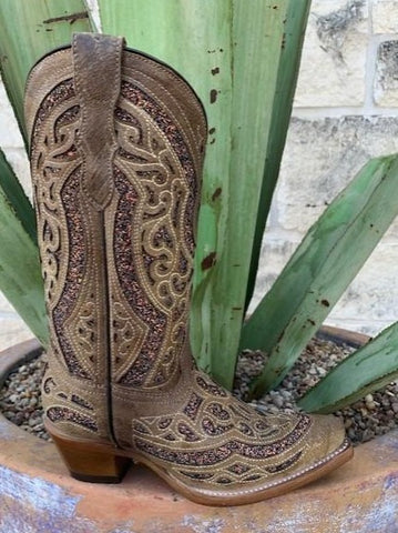 Girls Brown Glitter In Lay Corral Western Boot - T0057 - Blair's Western Wear Marble Falls, TX