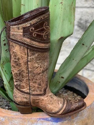 Corral Ladies Cowgirl Western Brown Boot with wingtip - A3175