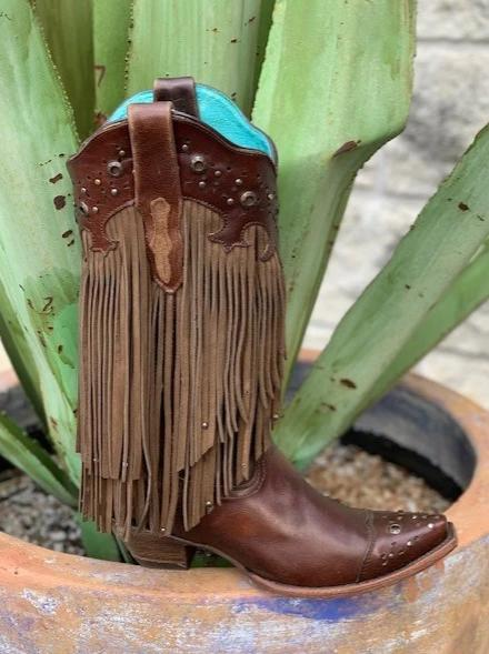 Corral, Women's Western Boot Brown Fringe Cowgirl Boot - C1185