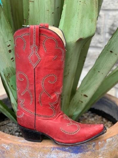 Ladies Western Corral Red Cowgirl boots - G1317