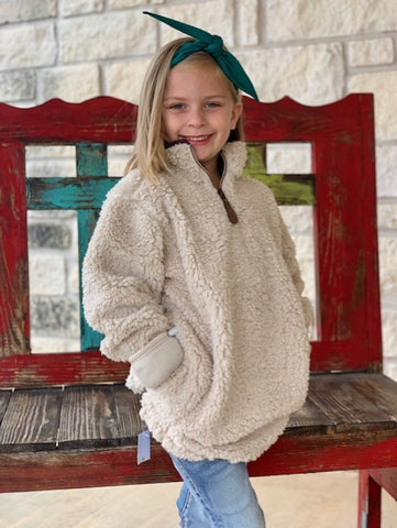 Little Girls Fleece Pullover Jacket in off white - NAT4588