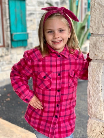 Little Girls Fleece Jacket Shirt Plaid Hot Pink - 32982507027