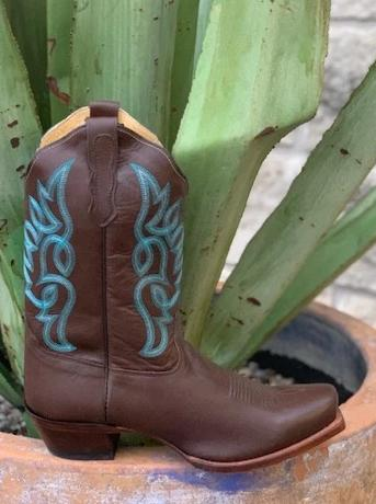 Nocona Ladies Short Top Brown & Turquoise Boots - NL5024