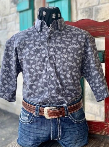 Charcoal & Grey Palm Tree shirt - Blair's Western Wear Marble Fall, TX