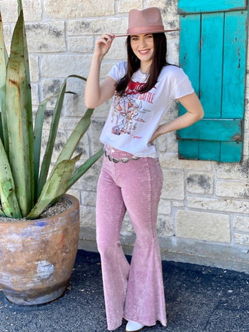 Ladies Pink Bell Bottom Pants - P2806944 - Blair's Western Wear Marble Falls, TX