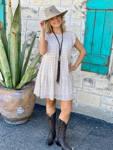 Ladies Polka Dot Dress White & Brown - B1SD1006 - Blair's Western Wear Marble Falls, TX