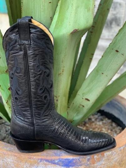 Ladies Handmade Black Lizard Cowgirl Boot by Rod Patrick -15548