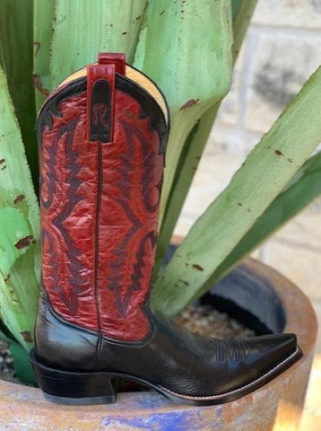 Ladies Black and Red Handmade Western Cowgirl Boots by Rod Patrick - 9478