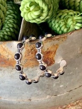 Black and Silver Beaded Hoop Earring - E630BLK - Blair's Western Wear - Marble Falls, TX