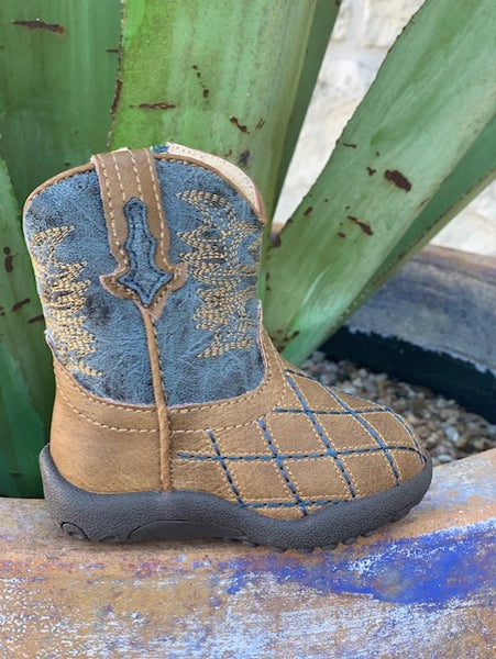Cowboy Infant Baby Western Patchwork brown & blue boots - 9161900080