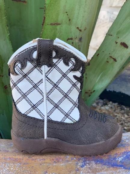 Cowboy Infant Baby Brown and White Western Boot - 91619020139