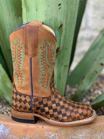 Kids Western Brown & Tan Checkered Roper - HPK7068 - Blair's Western Wear Marble Falls, TX
