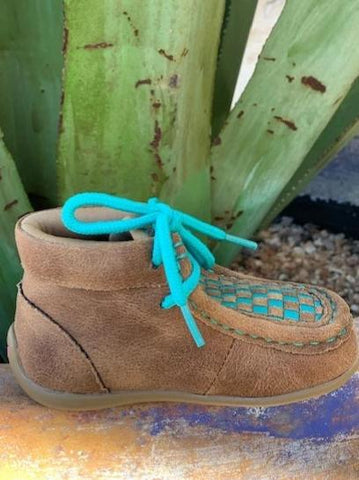 Cowboy or Cowgirl Infant Baby Patchwork Turquoise Moccasin - 4411102