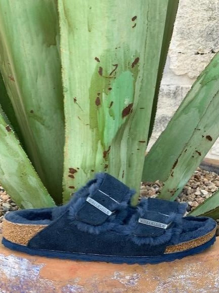 Ladies Arizona Fur Birkenstock in Navy - Blair's Western Wear Marble Falls, TX
