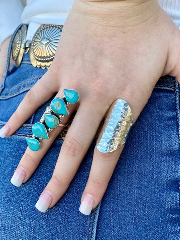 Ladies Turquoise & Silver Long Stacked Teardrop Adjustable Ring - T555 - Blair's Western Wear Marble Falls, TX