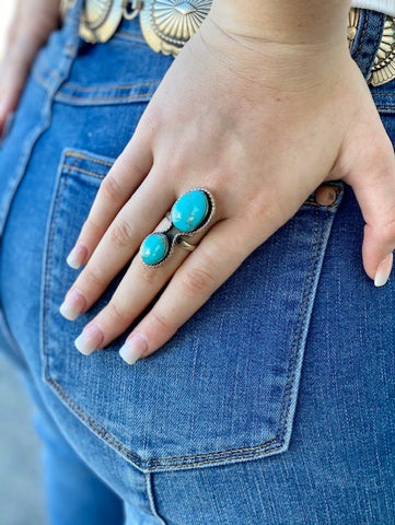 Oval Turquoise & Silver Adjustable Ring - T504T - Blair's Western Wear Marble Falls, TX