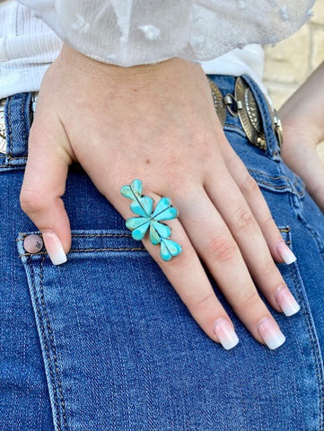 Ladies Turquoise Heart Cluster Ring - T511 - Blair's Western Wear Marble Falls, TX