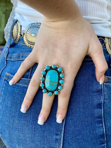 Turquoise and Silver Large Adjustable Ring - T552 - Blair's Western Wear Marble Falls, TX