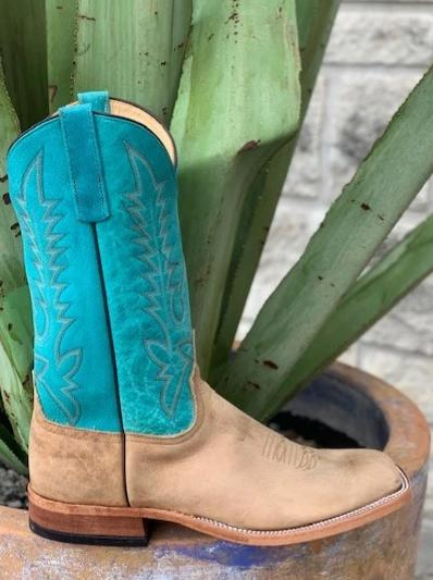 Anderson Bean, Men's Western Square toe Buffalo Boot tan foot with turquoise top - 3358M