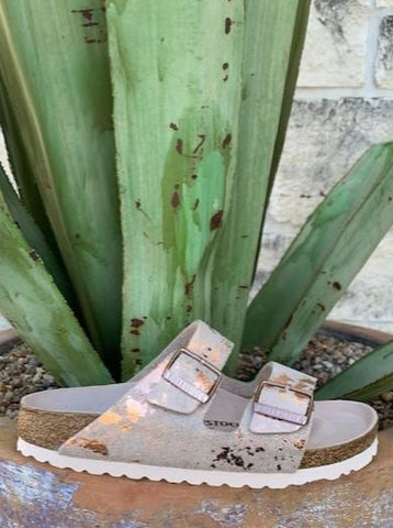 Ladies Acid Washed White & Gold Arizona Birkenstock - Blair's Western Wear Marble Falls, TX