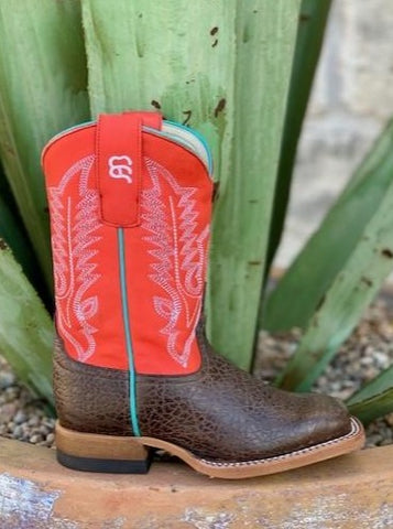 Anderson Bean Kid's Boot Dakota Brown Leather w/Red Upper - ABK7913 - Blair's Western Wear - Marble Falls, TX